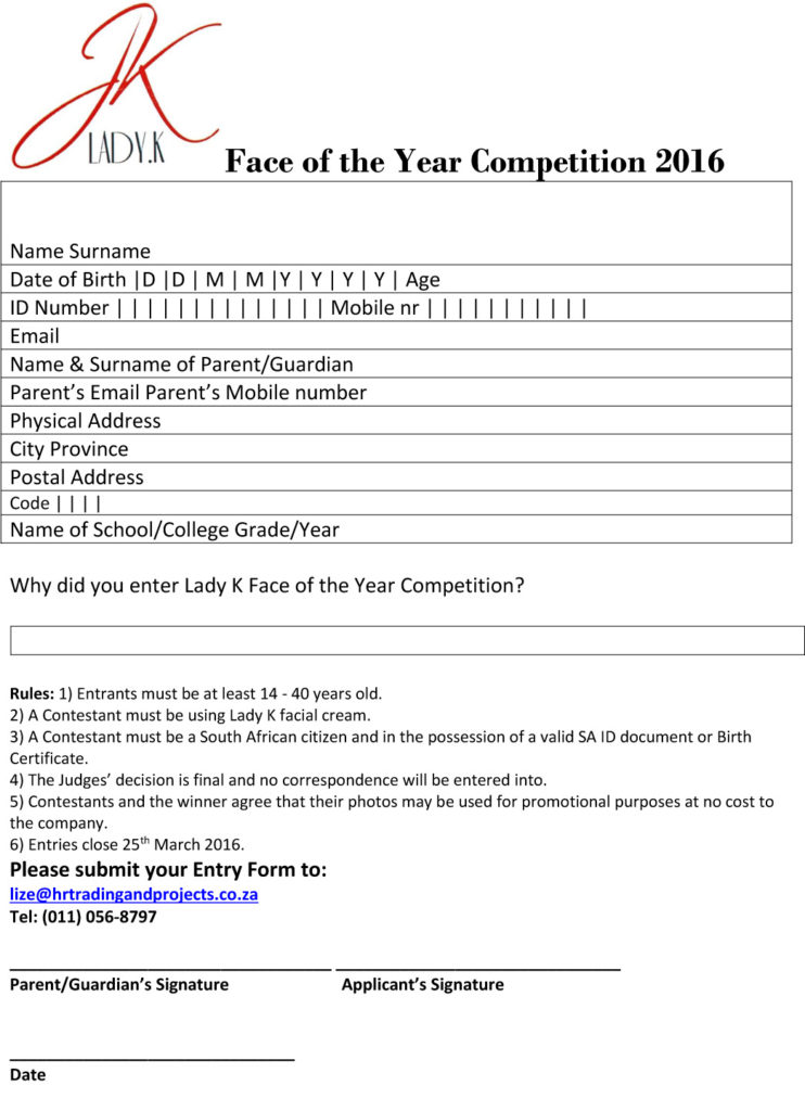 Face of the Year Competition 2016